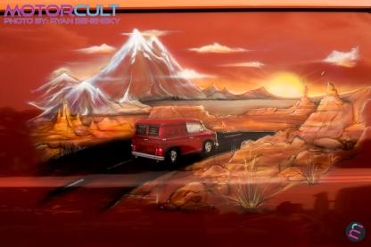 Orange Van Mural Driver Side
