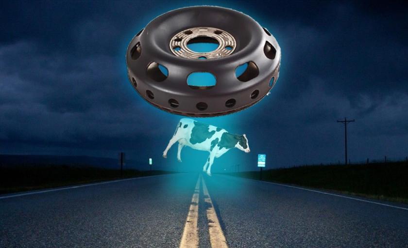 UFO rotor capturing cow